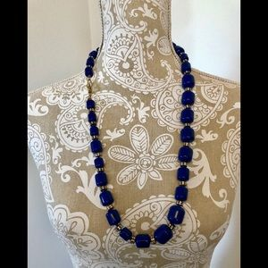 J. Crew Royal Blue Barrel Bead Necklace